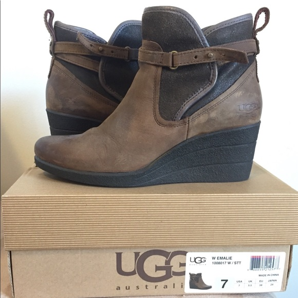 ffe2cd324fa UGG Emalie Waterproof Leather Wedge Boots (Bootie)